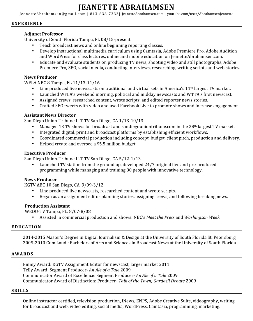 Executive Producer Resume About Jeanette Abrahamsen Broadcast News