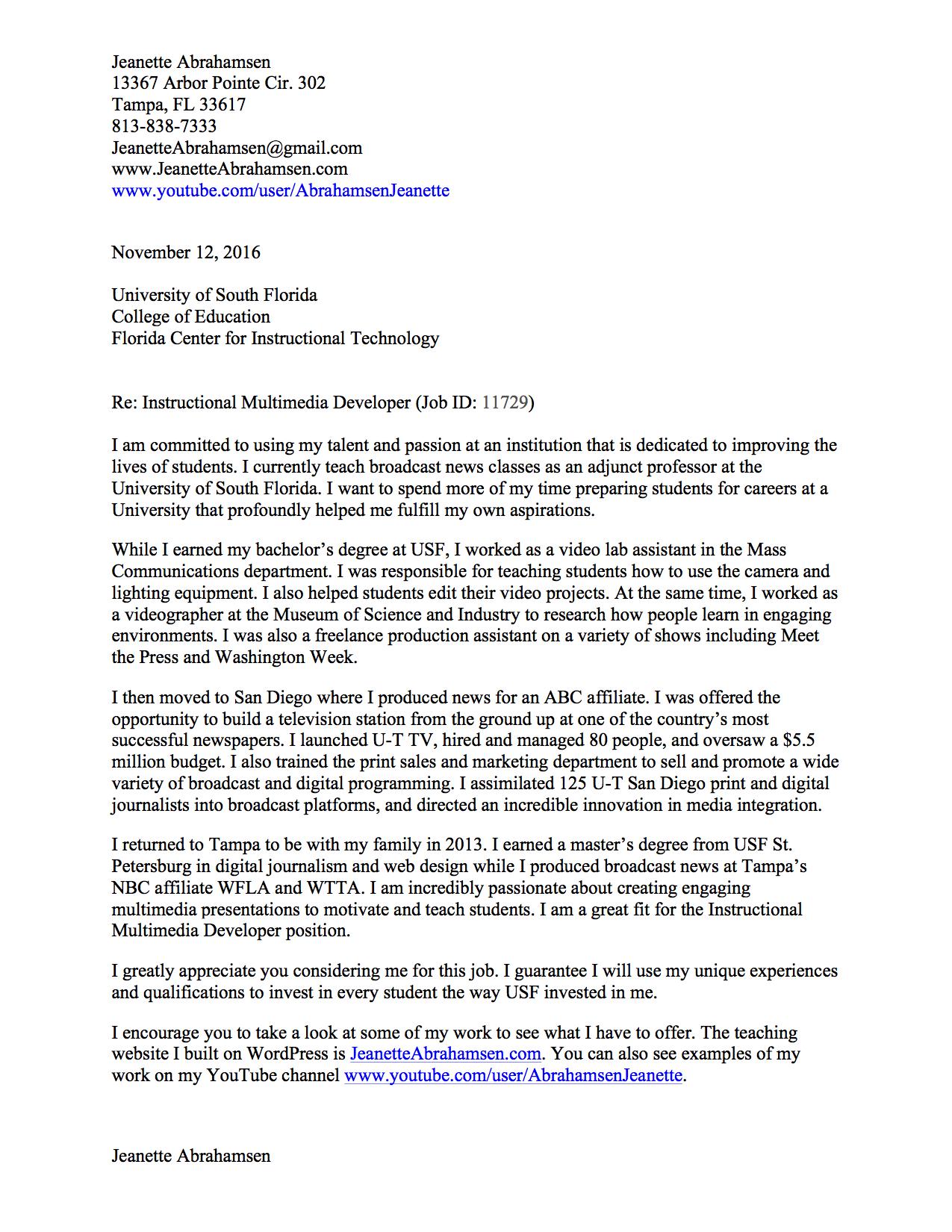 Jeanette Abrahamsen Cover Letter Example 2