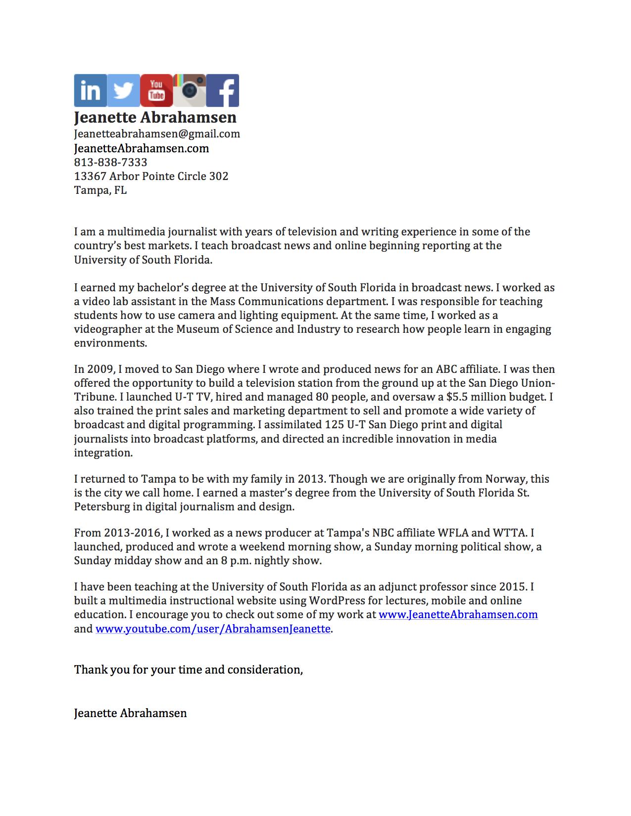 Jeanette Abrahamsen Cover Letter Example